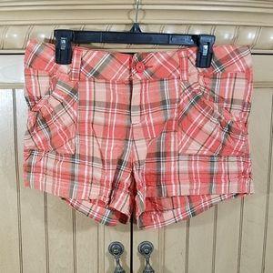 No Boundaries Orange Plaid Shorts, sz 13